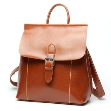 Two-ways Leather School Bag ~ Brown