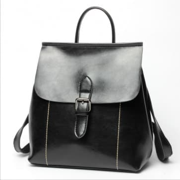 Two-ways Leather School Backpack Bag ~ Black