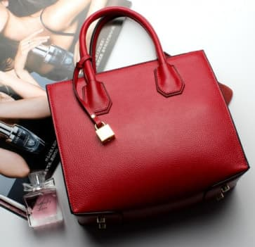 Fashion Trends Leather Lock Bag ~ Red