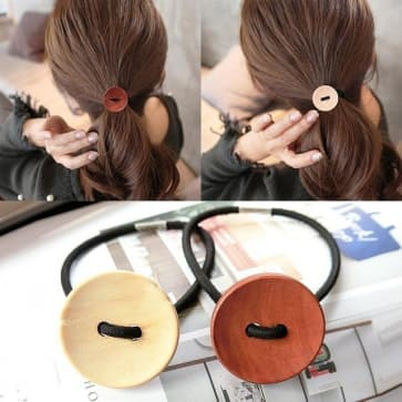 Wood Buttons Elastic Hair Band Scrunchie