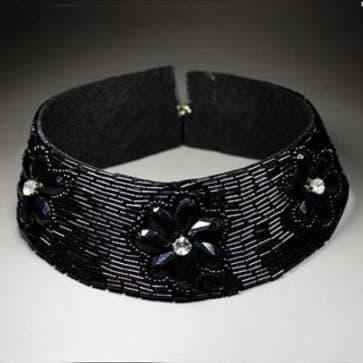 Black Floral Sequin Choker Necklace