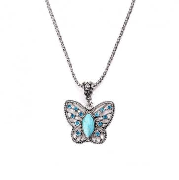 Butterfly Necklace with Rhinestones Pendant