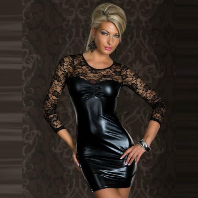 Clubwear Faux Leather Floral Lace Tight Fit Mini Dress ~ Regular & Plus Size