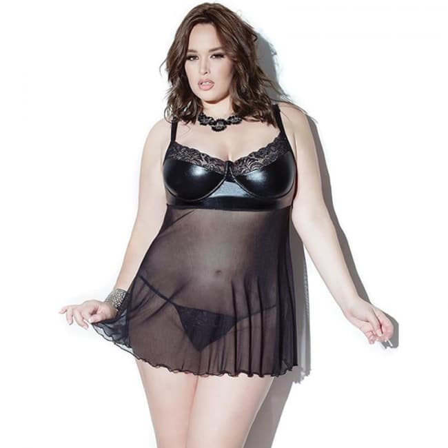 Sexy Black Faux Leather See Through Mesh Babydoll Regular Plus Size