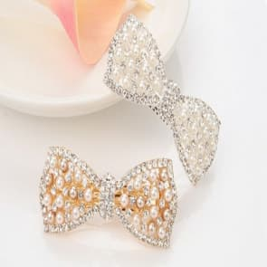 Rhinestone Bow Shape With Pearl Hair Clip Barrette