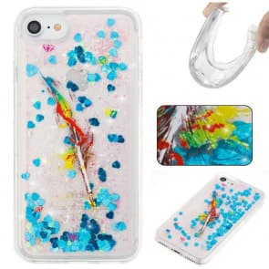 iPhone 7 Case, Feather Glitter Sparkle Bling Floating Liquid With Soft TPU Scratch Resistant Case