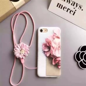 iPhone 7 Case, Flowers Pattern Soft White Case
