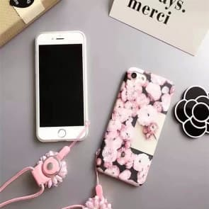 iPhone 7 Case, Pink Floral Flowers Pattern Soft Black Case