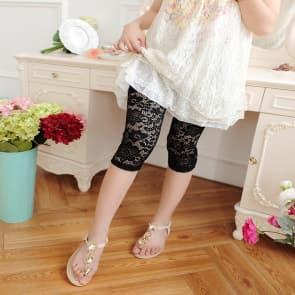High-Waist Lace Knitted Spandex Jersey Leggings ~ Knee Pants