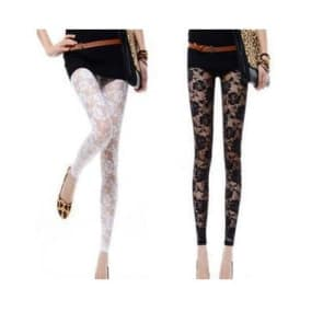 Rose Pattern Lace Knitted Spandex Jersey Leggings ~ Long Pants