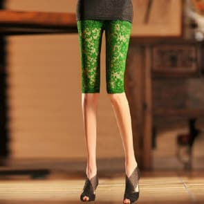 Flowers Lace Knitted Spandex Jersey Leggings ~ Knee Pants
