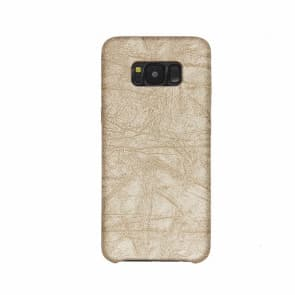 Galaxy S8 Case, Stone Pattern PU Leather Phone Case ~ Beige
