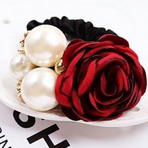 Floral Pearl Elastic Hair Band Scrunchie