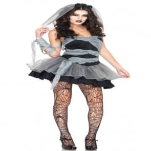 Decadent Dark Ghost Bride Cosplay Costume Dress For Adults Halloween Costume