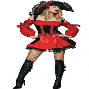 Red Pirate Beauty Cosplay Costume Dress For Adults Halloween Costume