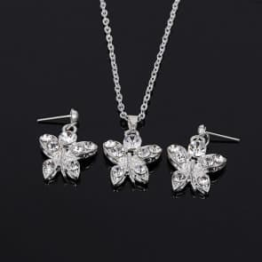 Butterfly Rhinestones Necklace and Earrings Sets