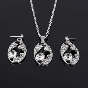 Oval Shaped Rhinestones Necklaces and Earrings Sets