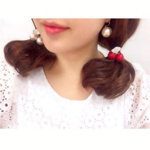 Rhinestone Cherry Elastic Hair Band Scrunchie