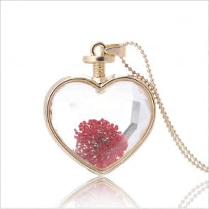 Heart Shaped Glass Flower Necklace Pendant Jewelry