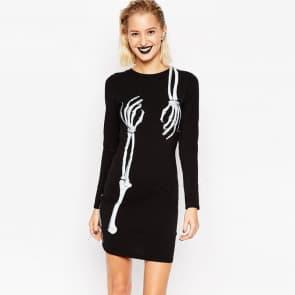 Human Skull Round Neck Printing Bodycon Short Dress