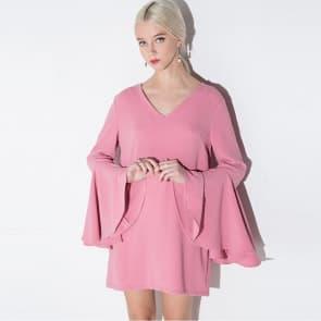 Pink Long Trumpet Sleeve Looser Dress