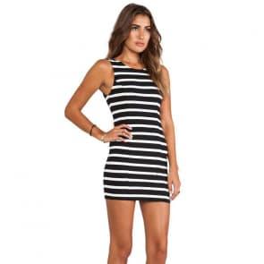 Open Back Zerba Stripe Sleeveless Bodycon Mini Dress