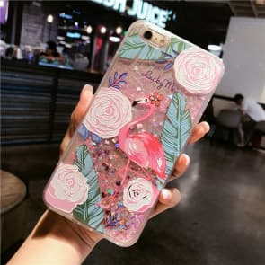 iPhone 7 8 Case, Flamingo Liquid Sparkle Bling Protective Case