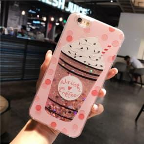 iPhone 7 8 Case, Milk Shake Liquid Sparkle Bling Protective Case