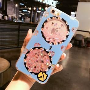 iPhone 7 8 Case, Blue Glasses Liquid Sparkle Bling Protective Case