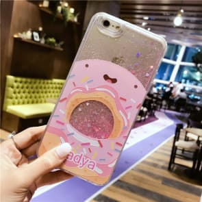 iPhone 7 8 Case, Donuts Liquid Sparkle Bling Protective Case
