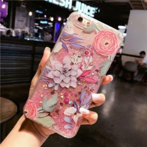 iPhone 7 8 Case, Floral Lotus Liquid Sparkle Bling Protective Case