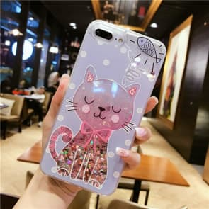 iPhone 7 8 Plus Case, Kitten Liquid Sparkle Bling Protective Case