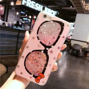 iPhone 7 8 Plus Case, Pink Glasses Liquid Sparkle Bling Protective Case