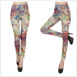 Summer Printed Knitted Spandex Jersey Leggings