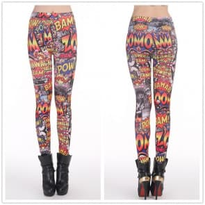 BAM POW Printed Knitted Spandex Jersey Leggings