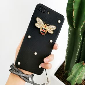 iPhone 7 8 Plus Rhinestones Bee Silicone Willow Nails Protective Case