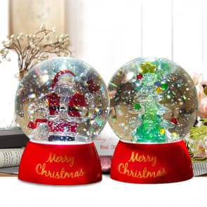 Christmas Santa Claus & Christmas Tree Crystal Decorations Snow Globe