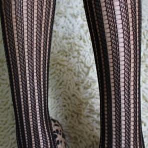 Black Fishnet Striped Seamless Tights Medium Size