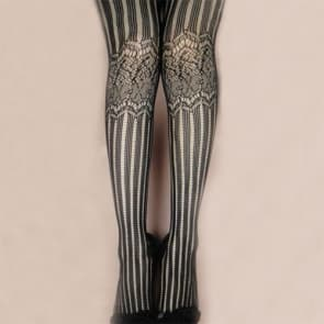 Black Fishnet Jacquard Striped Seamless Tights Medium Size