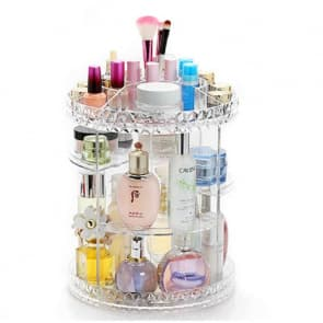 "10"" 360 Degree Rotating Cosmetic Makeup Organizer Case Spinning Rack"