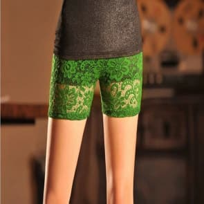 Flowers Lace Knitted Spandex Jersey Leggings ~ Short Pants