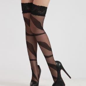 Jasmine Leave Pattern with Floral Lace Top Knee Socks Stockings