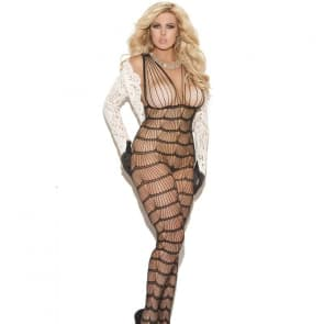 Vanessa Wave Shape Pattern Lace Plus Size Bodystocking