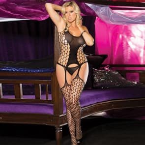 Geena Lace with Mesh Plus Size Bodystocking Sexy Lingerie
