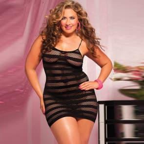 Katya Fishnet Lace Chemise Dress Plus Size Sexy Lingerie