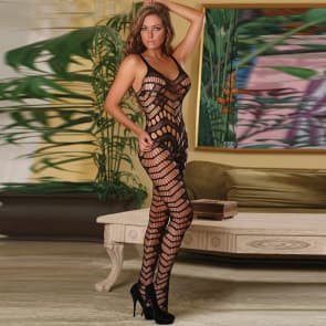 Tami V Shape Pattern Lace Plus Size Bodystocking