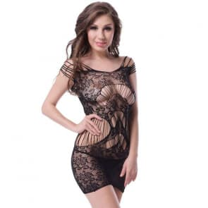 Fiora Floral Lace Pattern Plus Size Bodystocking Sexy Lingerie
