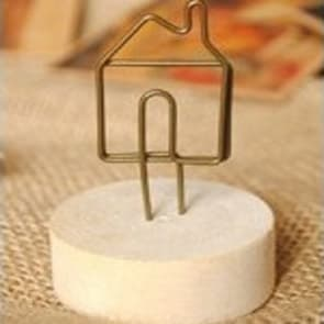 Sweet Home Shape Wood Round Clip Stand