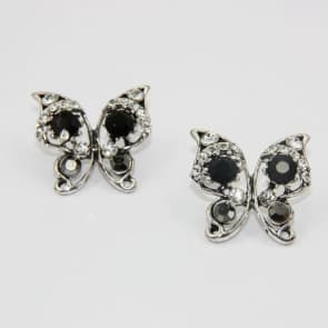 Silver Rhinestone Butterfly Earrings
