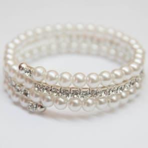 White Pearl & Rhinestone Bracelet